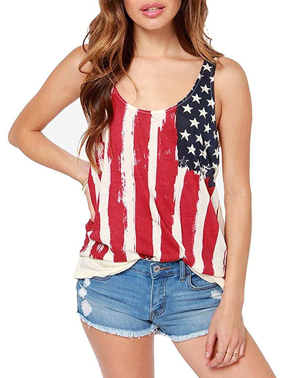 d43261ea American flag tank top. Material: 100% Cotton Summer camisole, soft and  comfortable. Perfectly with a pair of jeans or shorts for those summer  outings