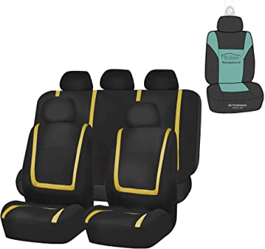 Universal Fit for Cars Trucks and SUVs Full Set with Gift Orange FH Group FB032115 Unique Flat Cloth Seat Covers