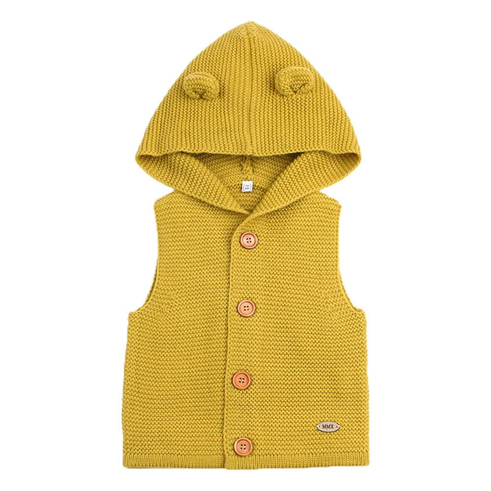 mimixiong Baby Knitted Waistcoat Toddler Hooded Sleeveless Cardigan Sweater