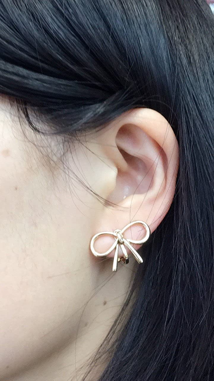Womans Girls Copper Cute Big Bow Silver Clip on Earrings Studs