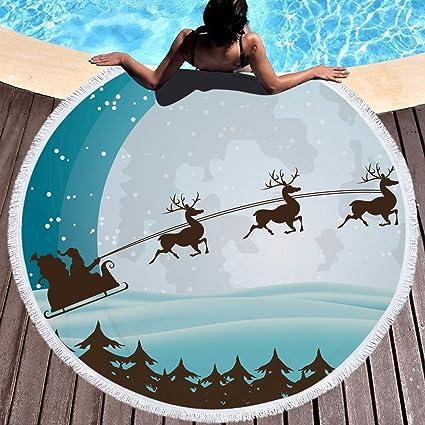SARA NELL Navidad Reno Toalla de Playa Manta con Flecos borlas Microfibra Super Absorbente de Agua