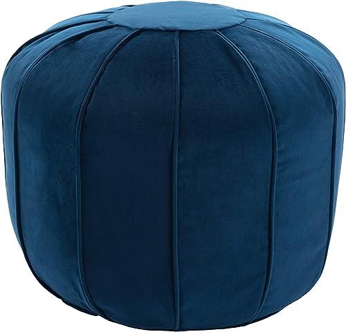 WOVENBYRD 20-Inch Tufted Round Pouf Ottoman, Blue Velvet