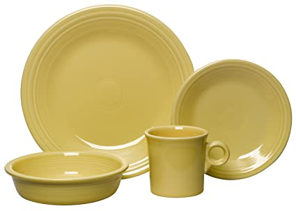 Amazon.com | Fiesta 4-Piece Place Setting, Sunflower: Dinnerware ...