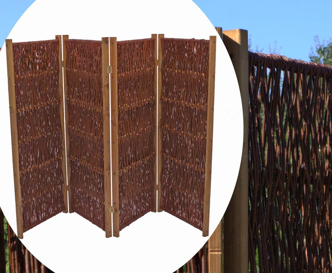 bambus-discount.com Trennwand mobil aus Weiden, Paravent Höhe 150cm x Breite 240cm, 4 teilig - Raumtrenner mobiler Sichtschutz