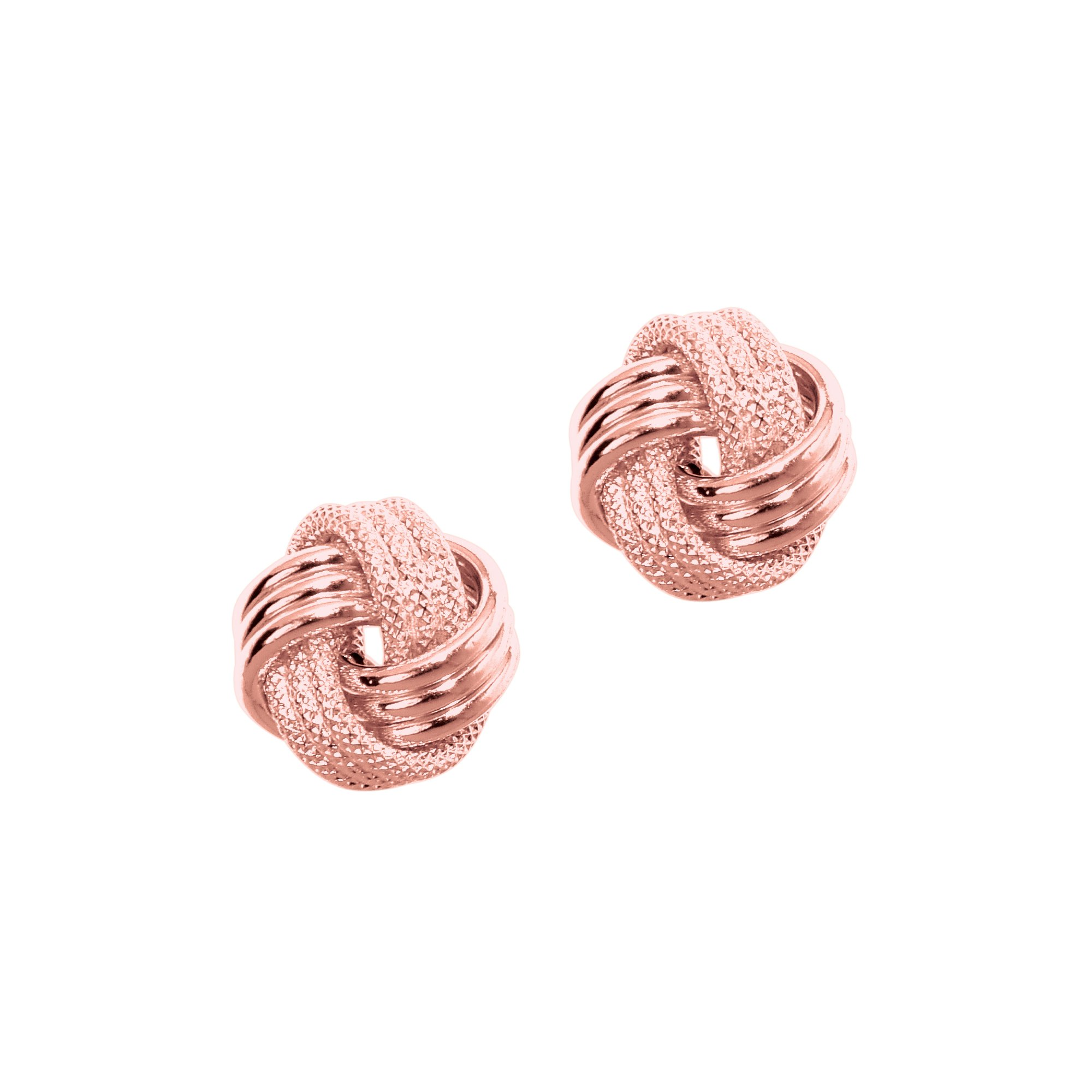 MCS Jewelry 14 Karat Rose, White OR Yellow Gold Love Knot Earrings (9 mm Diameter) (rose-gold)