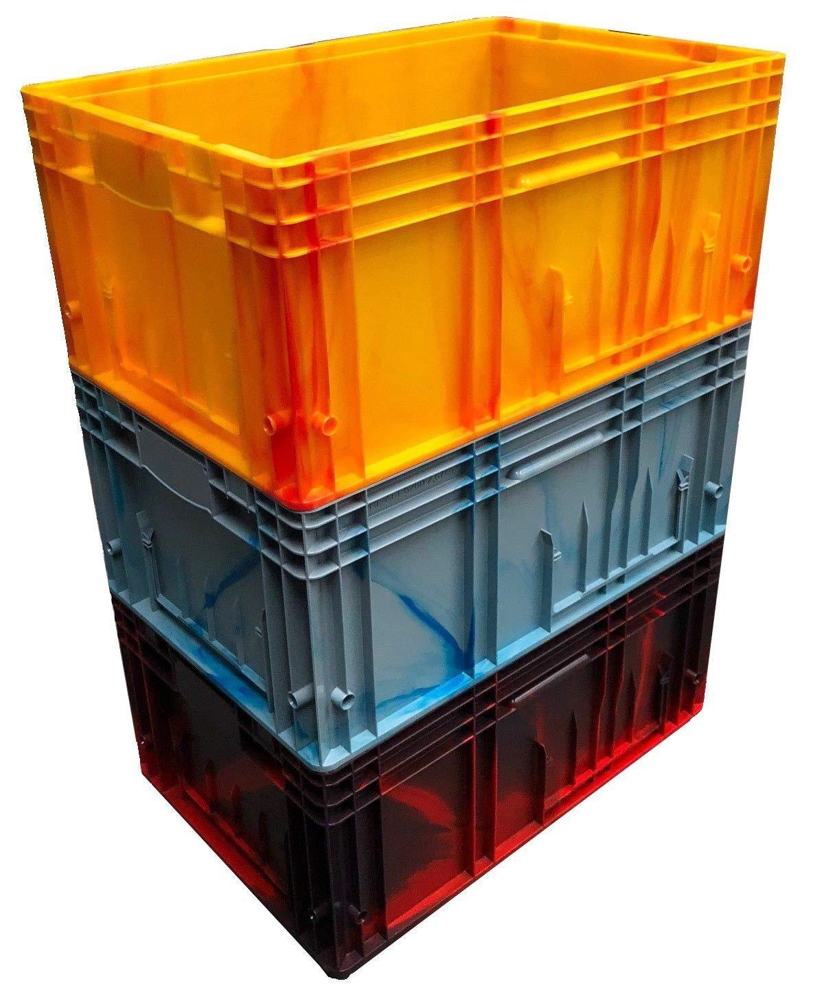 3 x 52 Liter Heavy Duty Euro Kunststoff Stapelbare Industrie-KLT Aufbewahrungsboxen (3 Stü ck), Schwarz, 3 Auer Packaging BKLT6280