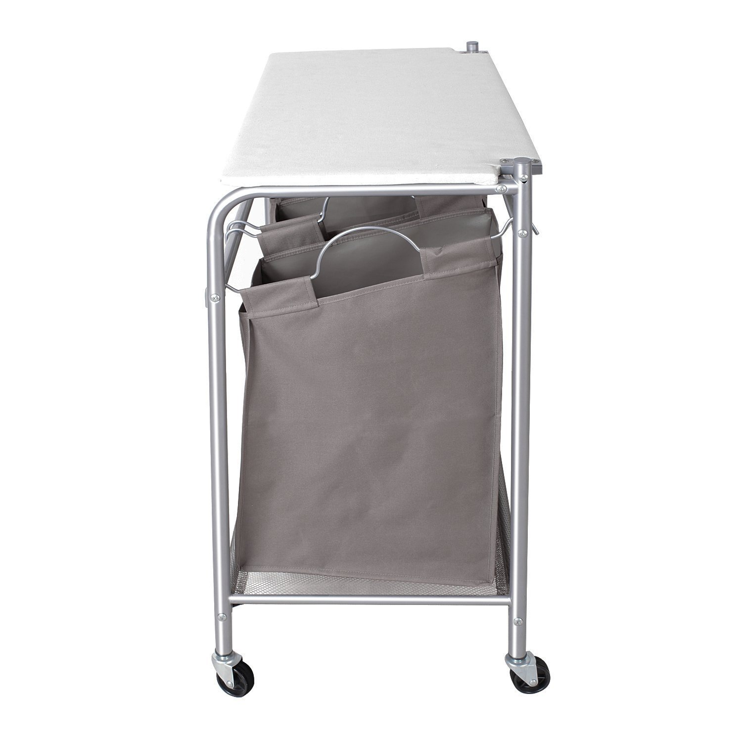 Fold up ironing board - Storagemaniac 3 Lift Off Bags Laundry Sorter Cart With Foldable Ironing Board