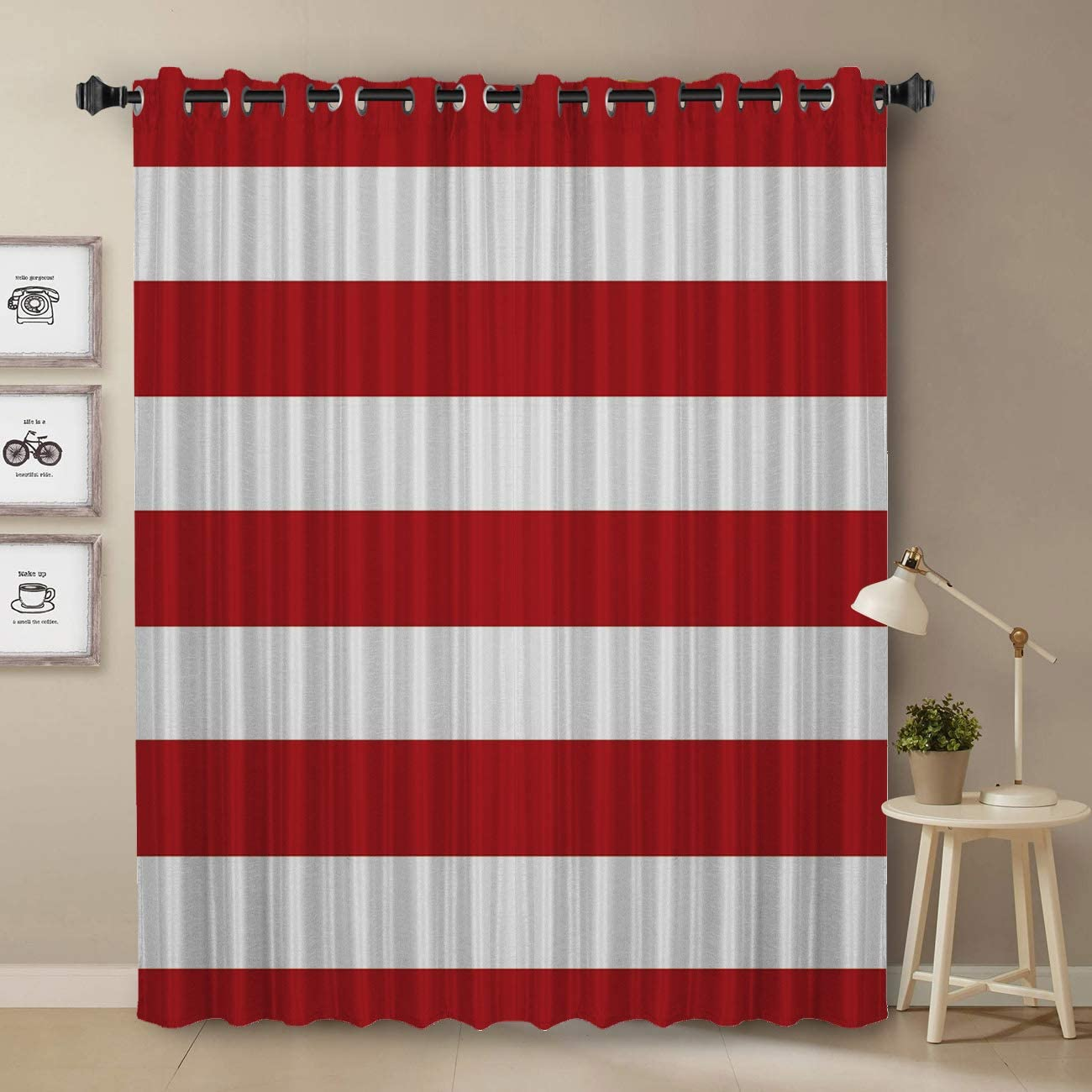 T H Home Darkening Blackout Curtain for Bedroom – 90 inch Long Window Treatment Curtain Drapes Modern Art Design for Living Room- Stripe Window Panel Red White Stripes Pattern
