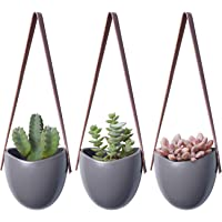 Mkono Ceramic Hanging Planter Succulent Air Plant Flower Pot Wall Decor, Set of 3