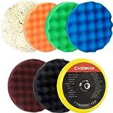 CASOMAN 7-Inch Buffing and Polishing Pad Kit, 7 Pieces 7' Polishing Sponge, Waxing Buffing Pad Kit