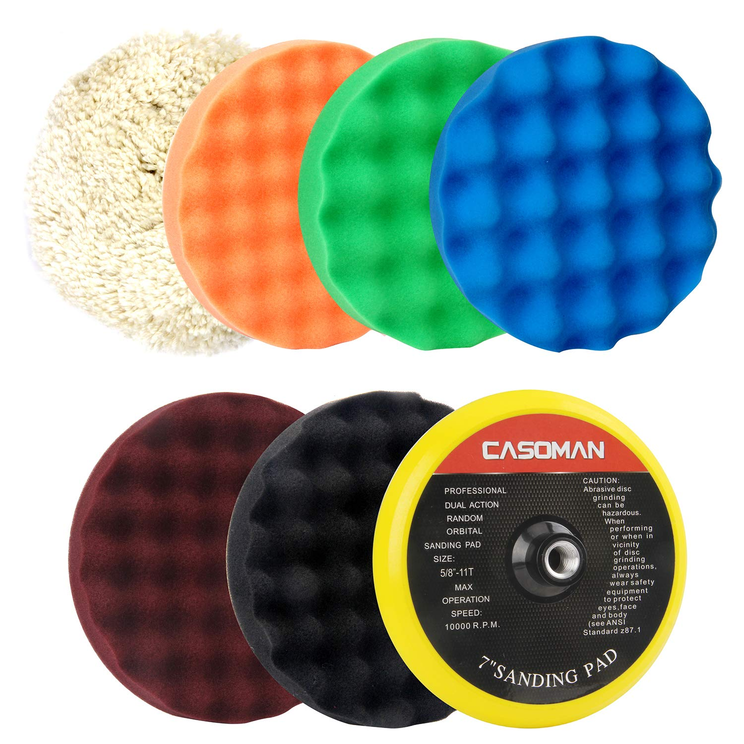CASOMAN 7-Inch Buffing and Polishing Pad Kit, 7 Pieces 7'' Polishing Sponge, Waxing Buffing Pad Kit