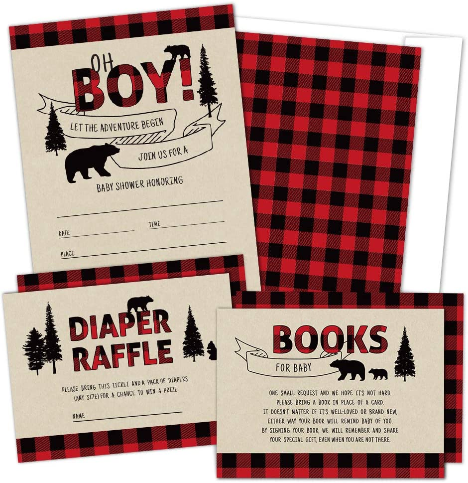 Set of 25 Lumberjack Baby Shower Invitations, Diaper Raffle Tickets, Book Request Cards with Envelopes | Boy Baby Shower Invitations, Woodland Baby Shower Invitations, Bear Baby Shower Supplies