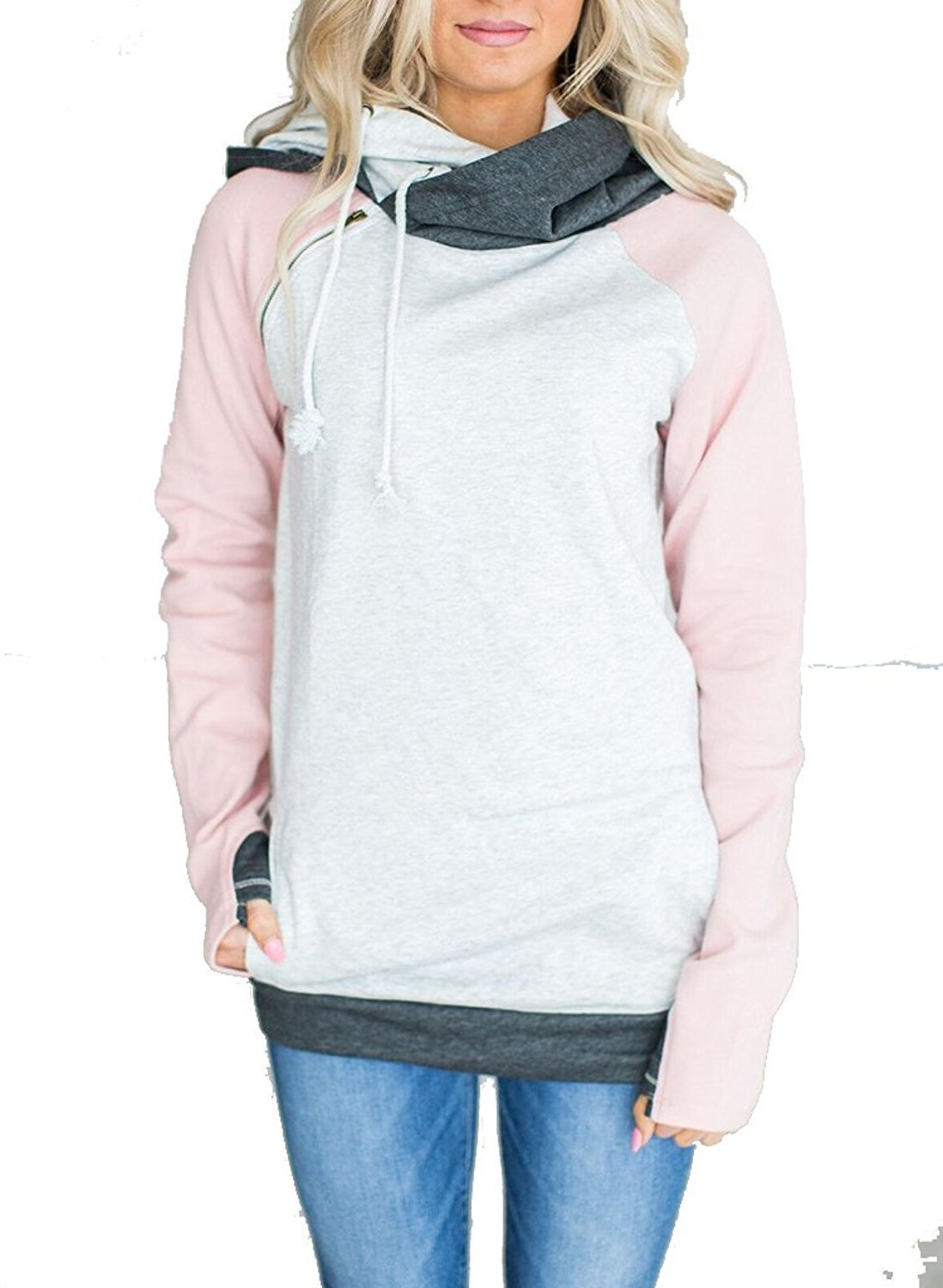 Women's Cowl Neck Color Block Long Sleeve Zipper Hoodies Pullover Sweatshirts