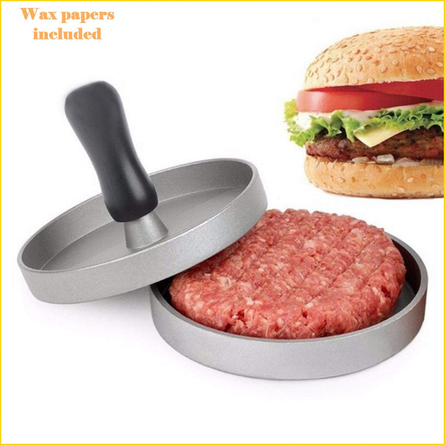Coop & Co. Hamburger Press Patty Mold with Wax Paper for BBQ Grill Made from Food Grade Aluminium Die-Cast by Coop & Co.
