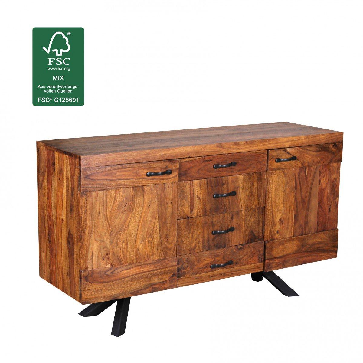 Wohnling WL1.366 Sheesham Massivholz Sideboard 145 x 45 x 82cm, Kommode, 2 Türen und 4 Schubladen