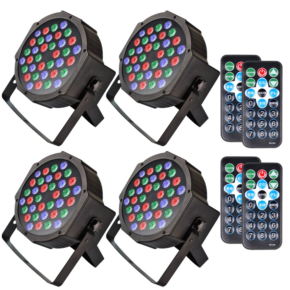 KOOT Stage Lights Par Light Wash Light with RGBW-36 LEDs DJ Light Controlled By Remote and DMX Control-Best for Karaoke Club Disco Bar Wedding Show(4 pack)