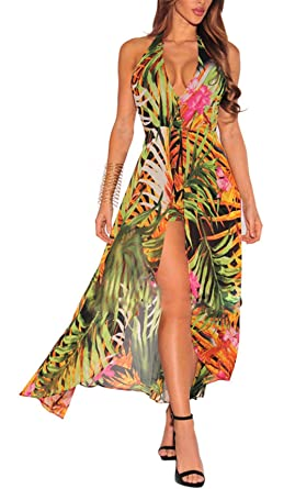 5f2cb4fdd65bf Sleeveless Halter Backless Print Bodycon Club Party Summer Dress