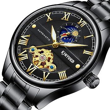 YUNDING Reloj, Reloj De Negocios De Alta Gama para Hombres, Acero Inoxidable, Movimiento Mecánico, Regalo De Cumpleaños.: Amazon.es: Deportes y aire libre