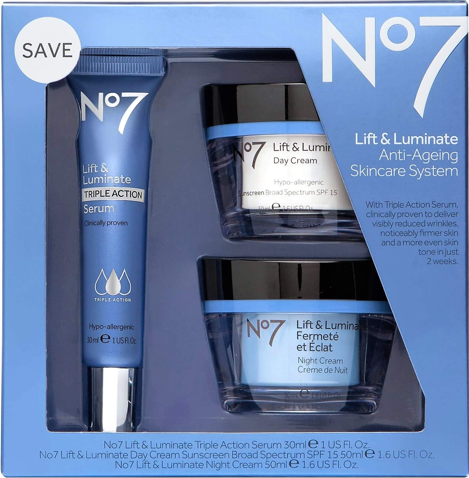 No7 Lift & Luminate Triple Action Skincare System by No. 7