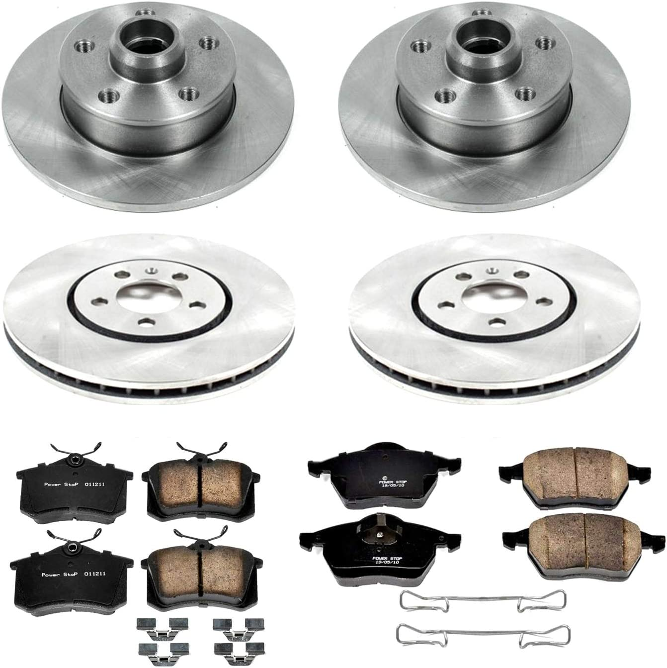 Power Stop KOE609 Autospeciality Replacement Front and Rear Brake Kit OE Rotors /& Ceramic Brake Pads
