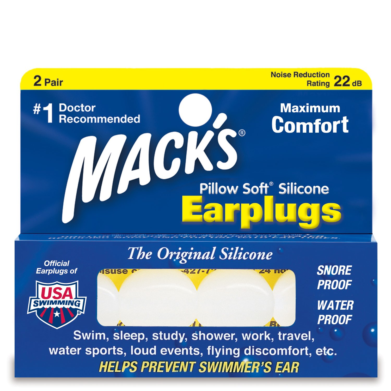Mack's Pillow Soft Silicone Putty Ear Plugs - Pack of 2 Pairs Mack' s ME-5-White
