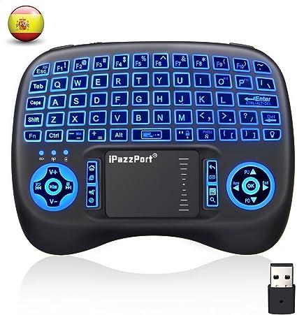 Mini Teclado Inalámbrico MECO Mini RF2.4G Teclado Inalámbrico QWERTY Español con Touchpad Tres Colores Retroiluminada Batería Recargable para Android TV BOX/ Raspberry Pi /Smart TV/PC: Amazon.es: Electrónica