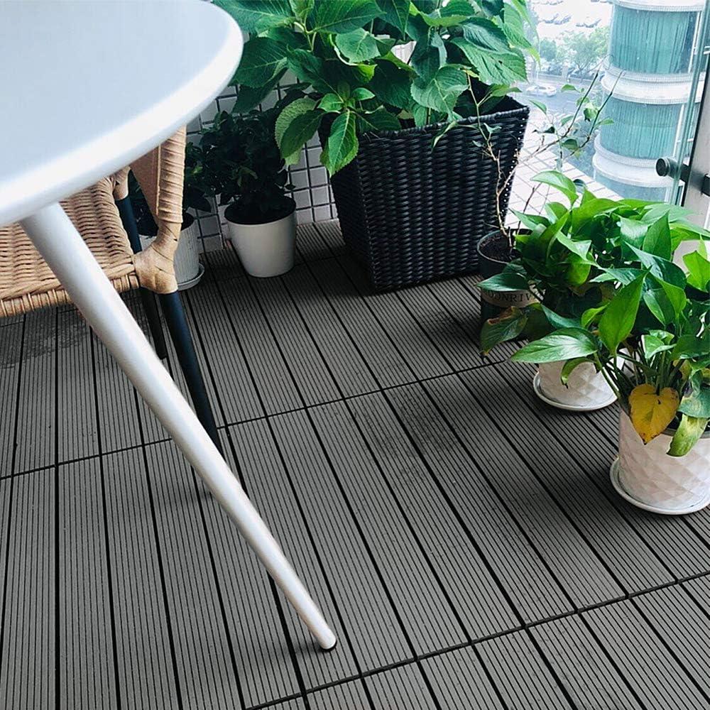 /& Balkonfliesen Zusammenbaubar Holz Optik Garten Klickfliese Gesamt ca 30x60cm//St/ück, Anthrazit Froadp 6 St/ück WPC Kunststoff Fliesen Wasserfilterbar Terrassen 1m/²