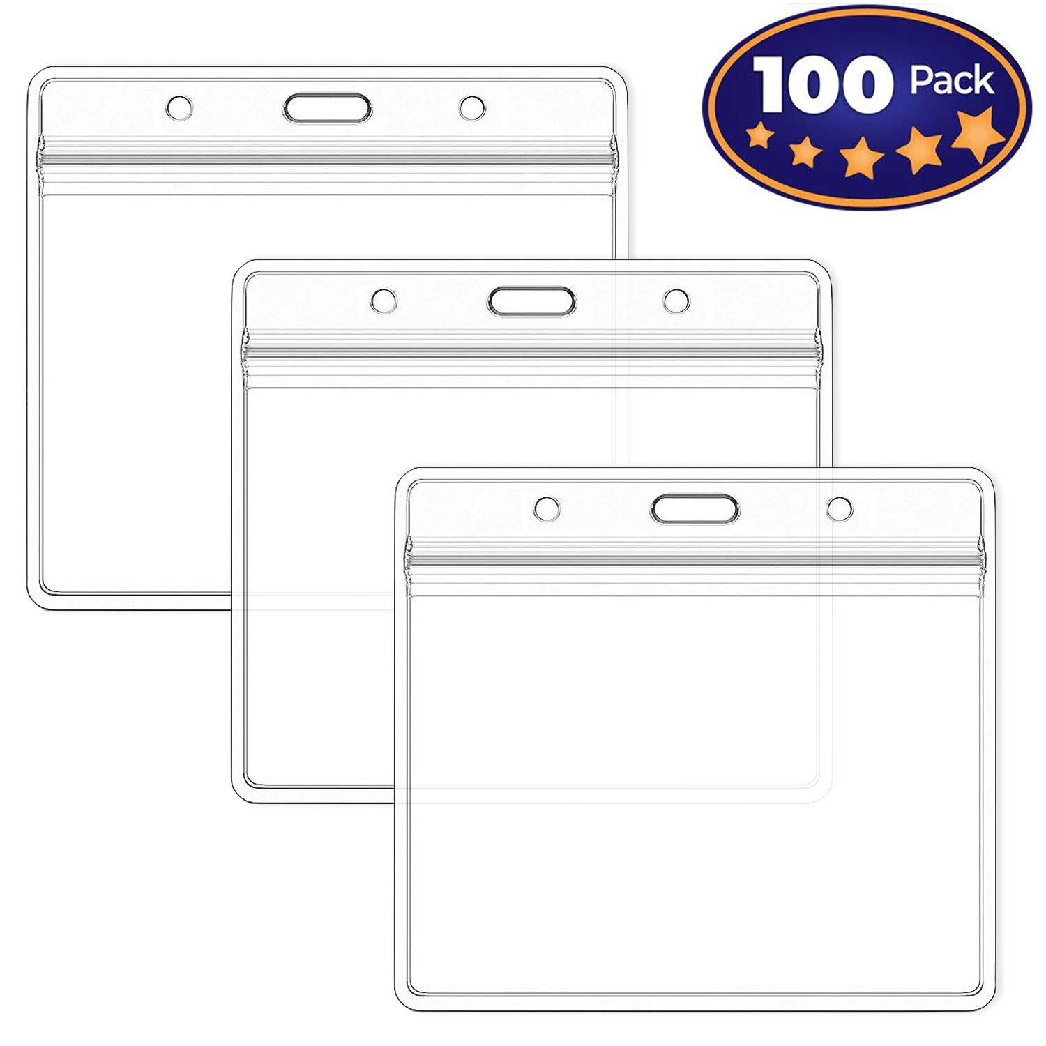 Premium Horizontal ID Name Tag Badge Holder 100 Pack- Clear Plastic Waterproof sealable – Employees Pass, School, Company Events Favors - by IRISING