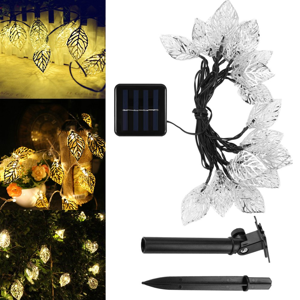 Solar String Lights Warm White,Outdoor Waterproof 20 LED Leaves Solar Fairy Lights with Solar Panel 2 Lighting Modes for Indoor Home, Garden, Fence, Christmas Tree, Wedding, Holiday Party by elecfan