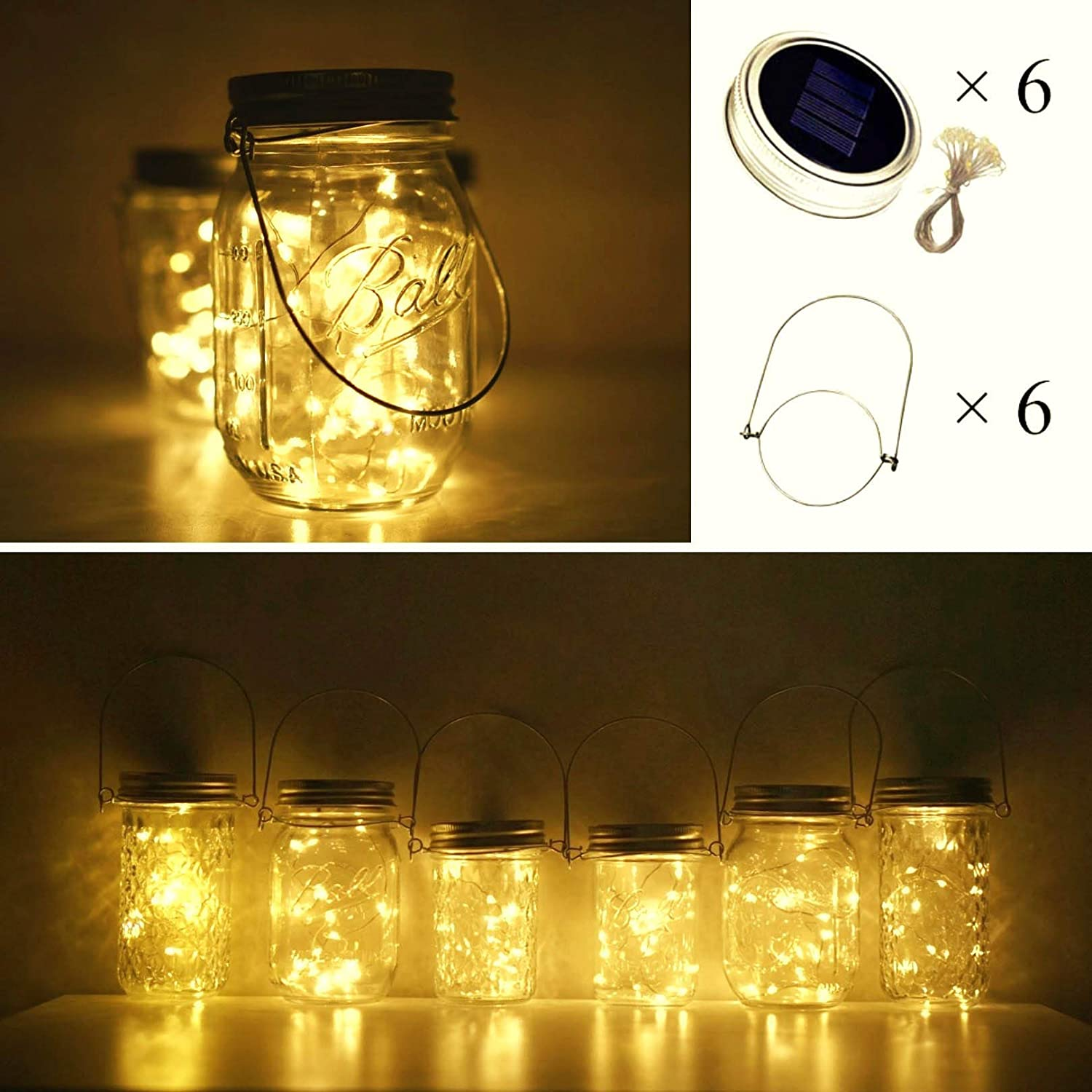 Cynzia Solar Mason Jar Lights, 6 Pack 10 LED Waterproof Fairy Star Firefly String Lights with 6 Hangers (Jar Not Included), for Mason Jar Garden Wedding Christmas Party Decor (Warm White)