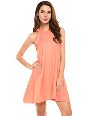 b9b1e2a0d439 Zeagoo Women Halter Sleeveless Solid Casual Loose Pocket Tunic Dress   Amazon.co.uk  Clothing