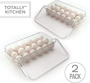 Totally Kitchen Plastic Egg Holder   BPA Free Fridge Organizer with Lid & Handles   Refrigerator Storage Container   18 Egg Tray, Clear (2 Pack)