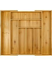Harcas - Bandeja para Cubiertos de bambú Soporte para Utensilios de Cocina de 6 a 8