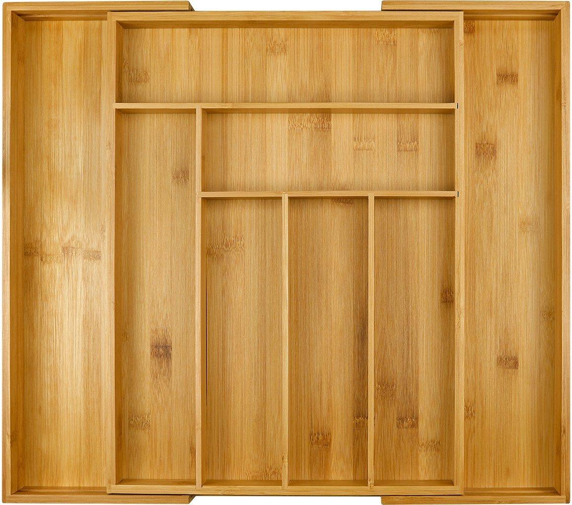 Harcas Bandeja para Cubiertos de bamb/ú Soporte para Utensilios de Cocina de 6 a 8 Compartimentos Se extiende hasta 50 cm x 43 cm x 5 cm Organizador de tama/ño Grande Extensible