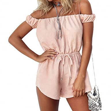 16a64a0a141 Amazon.com  Summer Beach Off Shoulder Sexy Rompers Womens Jumpsuit Elegant  Pink Bodysuit Fashion Playsuits Shorts Overalls plus size New  Clothing