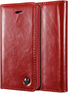 GUOQING Phone Case Case for iPhone 5/5S/5SE,Premium PU Leather Folio Flip Cover with Kickstand,Retro Wallet Foldable Card Holder Protective Cover (Color : Red)