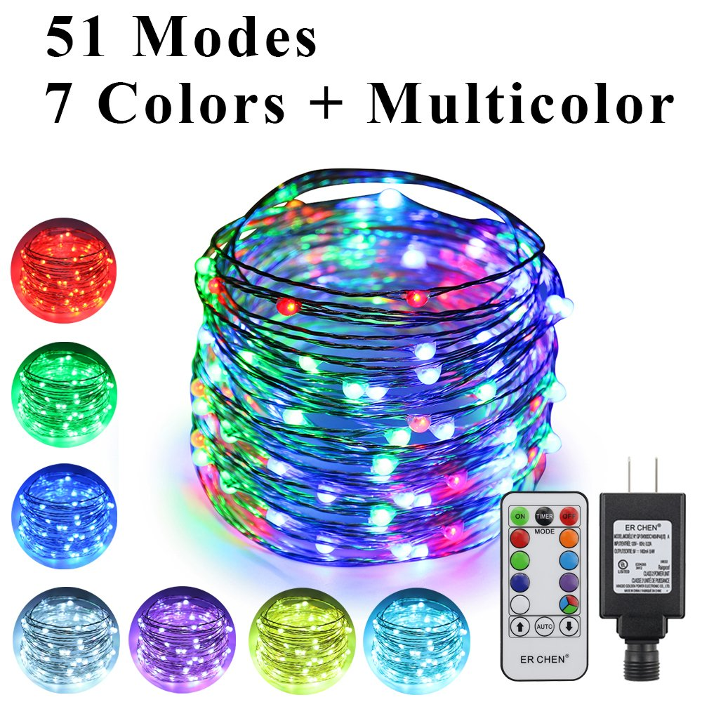 51 Modes 7 Colors + Multicolor New LED String Light, ErChen 49 FT 150 Upgraded RGB LEDs Color Changing Plug in Silver Copper Wire Fairy Light with Remote Timer for Indoor/Outdoor Decor Christmas
