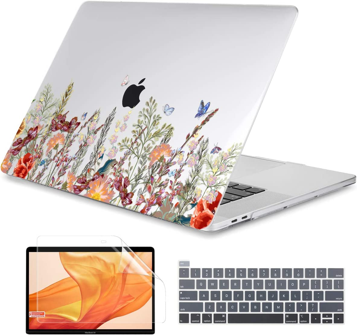 Dongke MacBook Pro 16 inch Case Model A2141 (2019 Released), Plastic Hard Shell Case Cover Only Compatible with MacBook Pro 16 inch with Retina Display & Touch Bar Fits Touch ID, Floral Illustration