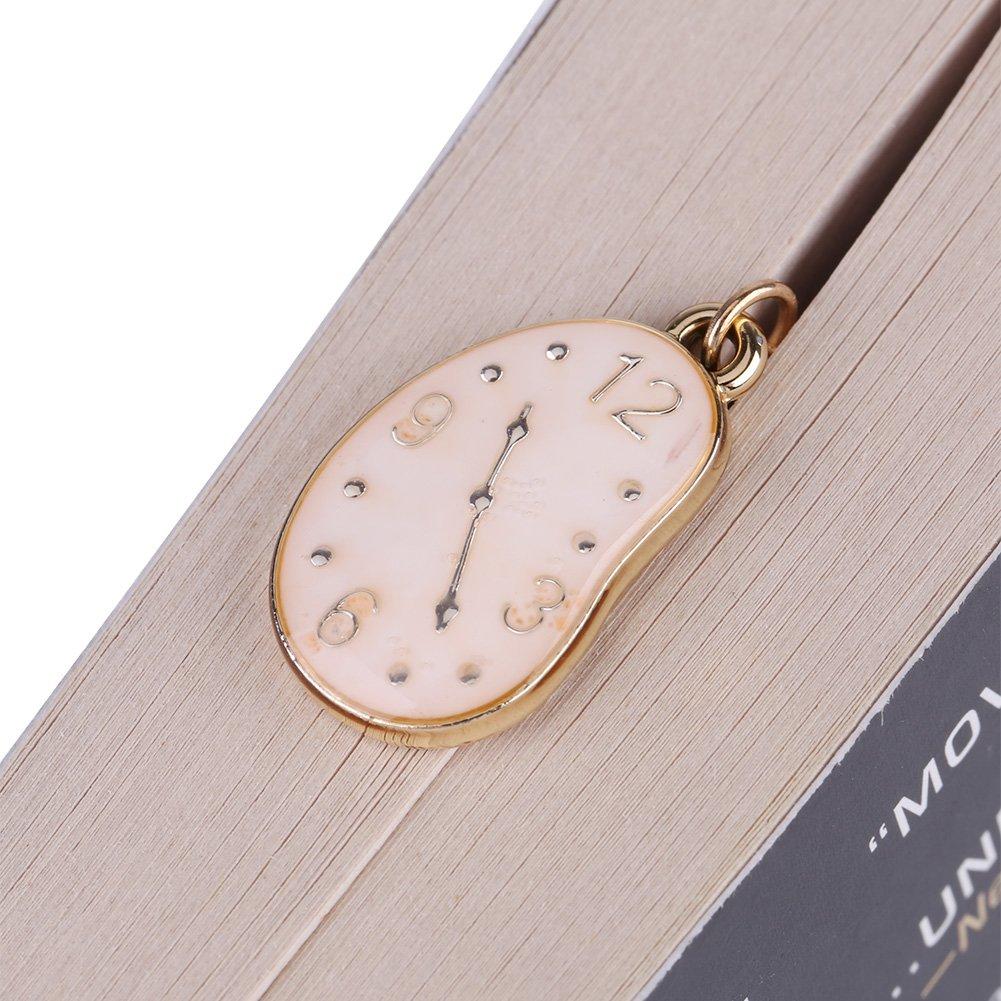 Uhr Anh/änger f/ür Buch Papier lesen perfekte Geschenke 1 St/ück Vintage Gold Metall Blatt Lesezeichen mit Alice//Kaninchen Clock