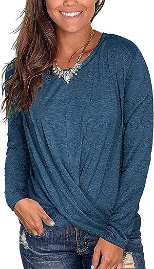 Women/'S Long Tunic Top Long Sleeve Round Neck T-Shirt Loose Top Tunic Dress