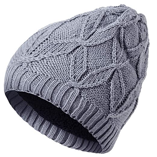 ebd4edee YSense Mens Winter Warm Beanie Hat Fleece Lined Thick Slouchy Cable Knit Skull  Cap (F