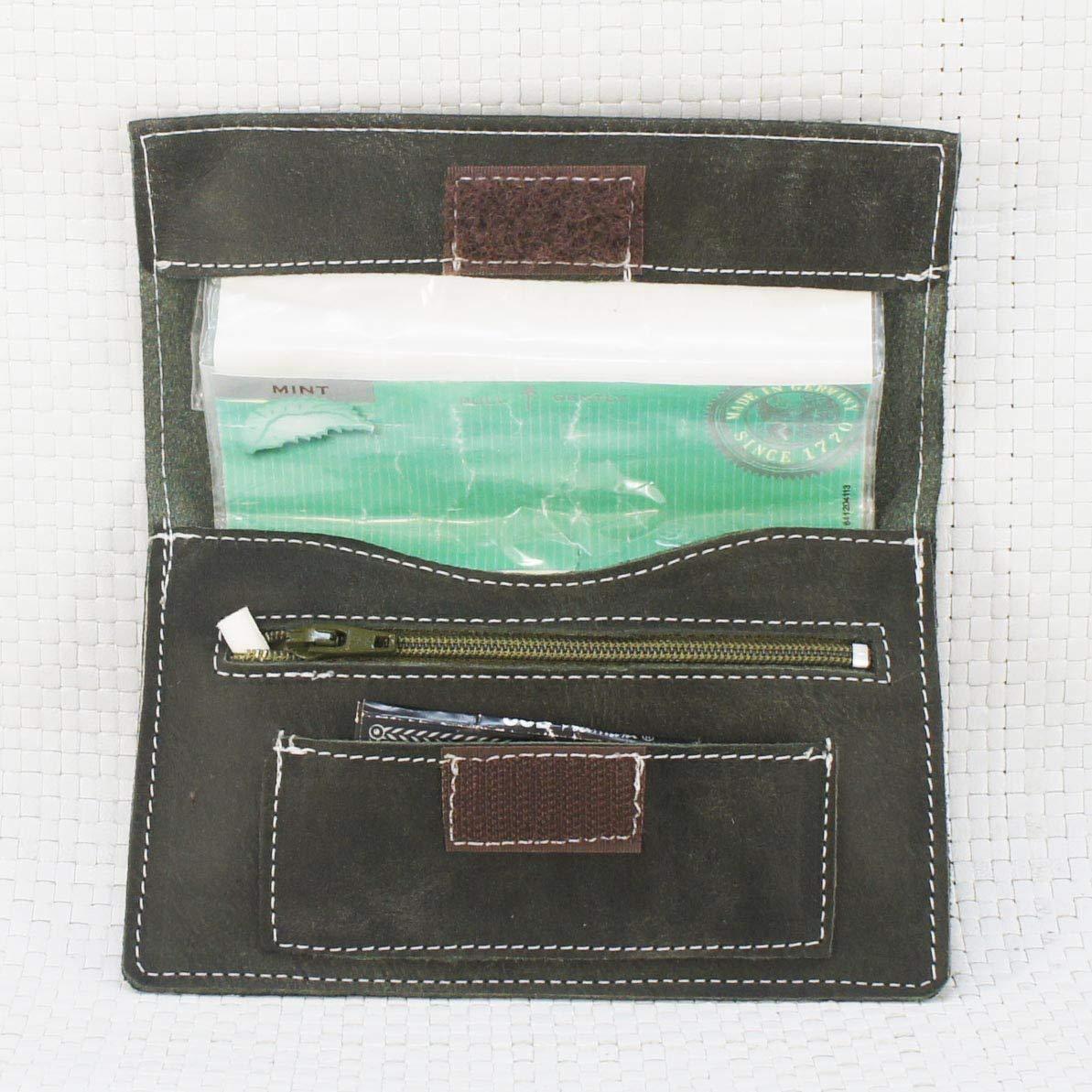 Bolsa de piel verde, para tabaco de liar. Estuche de piel para picadura. Tabaquera de piel. Pitillera cuero: Amazon.es: Handmade