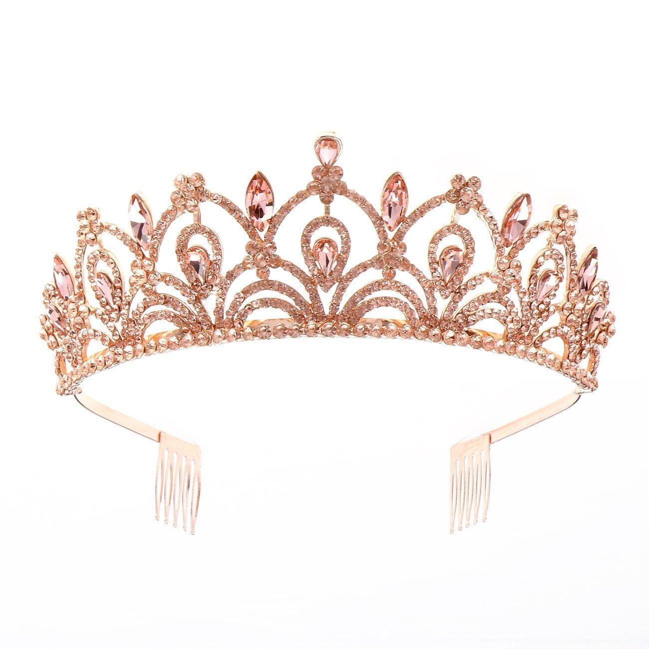 Weddingtopia Crystal Princess Pageant Rose Gold Wedding Tiara For Bride Plus Wedding Hair Pieces For Free– Rhinestone Bridal Tiara Crown with side combs Wedding Hairband Comb Pin (ROSE GOLD PEACH)