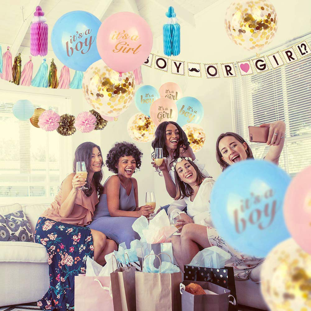Gender Reveal Party Supplies (99 Pieces) with Photo Props, 36 Inch Reveal Balloon and Mommy To Be Sash, Cupcake Toppers - Premium Baby Shower Decorations Set - Confetti Balloons, Boy or Girl Banner, Paper Lanterns, Honeycomb Bottles and Pom Poms by Rumacco