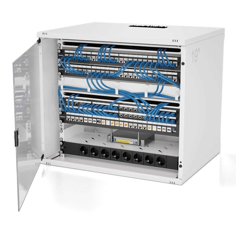 19 Pollici Montaggio Rack CAT5 CAT6 CAT7 Compatibile LAN Rete Nero deleyCON 24 Porte Patch Panel Pannello Patch Modulare per Moduli Keystone 1HE 1U
