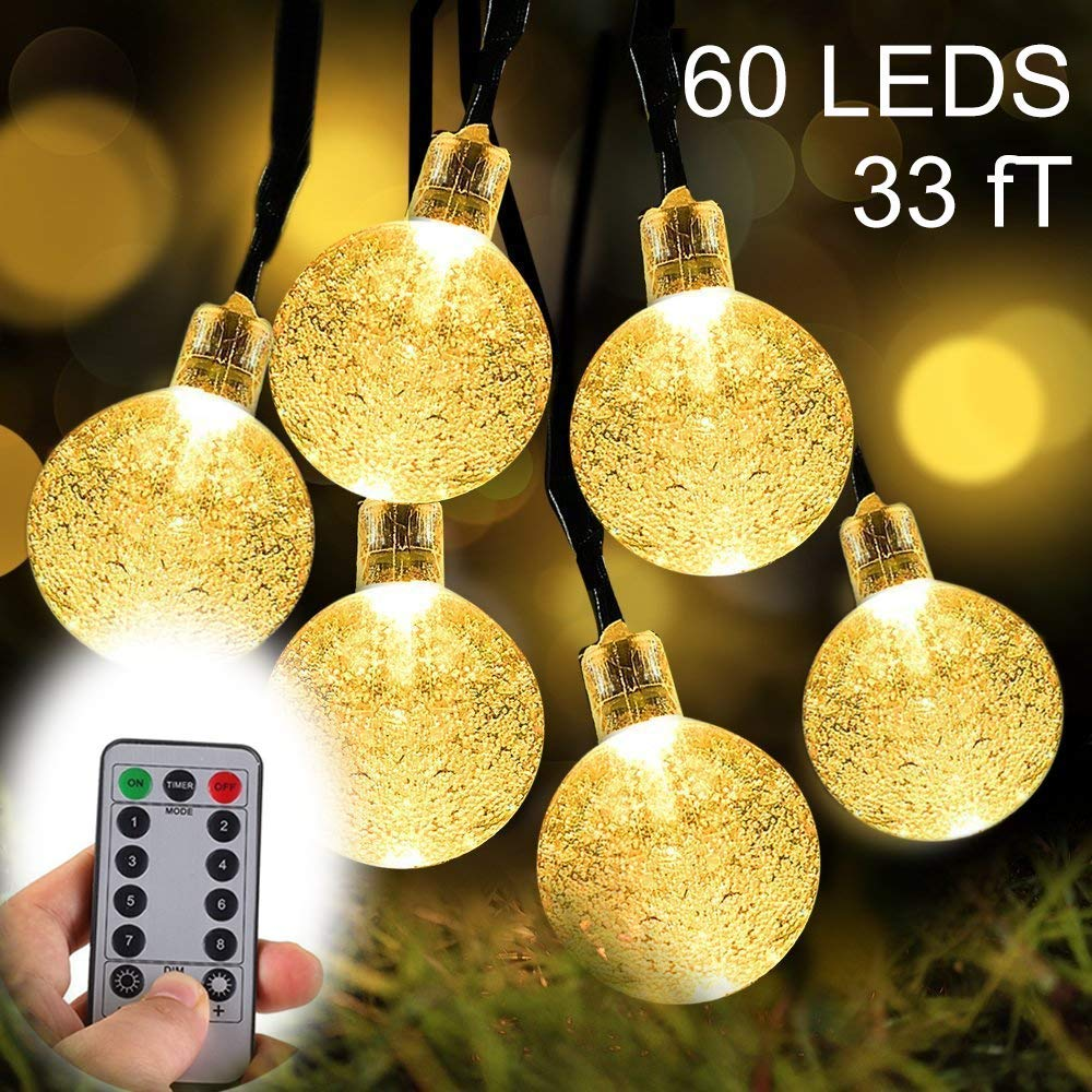 ZOUTOG Battery Operated String Lights, 33ft 60 Crystal Balls Outdoor String Lights with Remote Controller + 8 Pcs Lighting Hooks, LED String Lights for Patio/Garden/Lawn/Home - Warm White