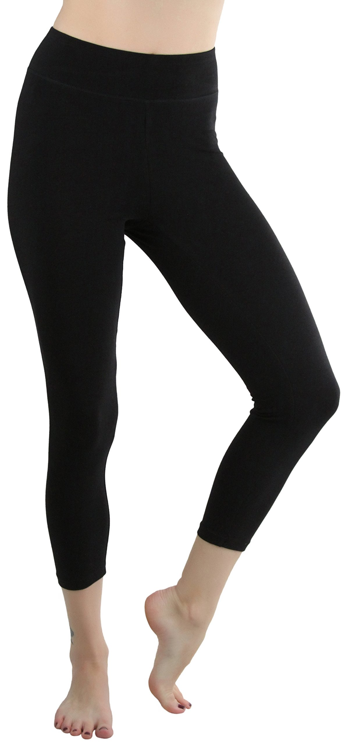 ToBeInStyle Women's Cotton-Spandex Capri Leggings - Black - Medium