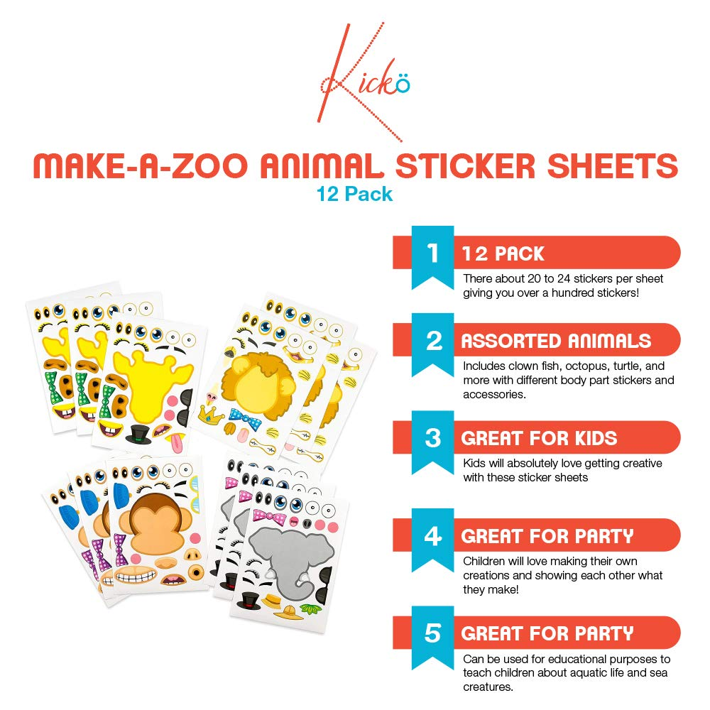 Parties Birthdays School Arts Etc. for Kids Kicko Make-a-Zoo Animal Sticker Sheets -12 Pack Gifts Party Favors Crafts Daycare