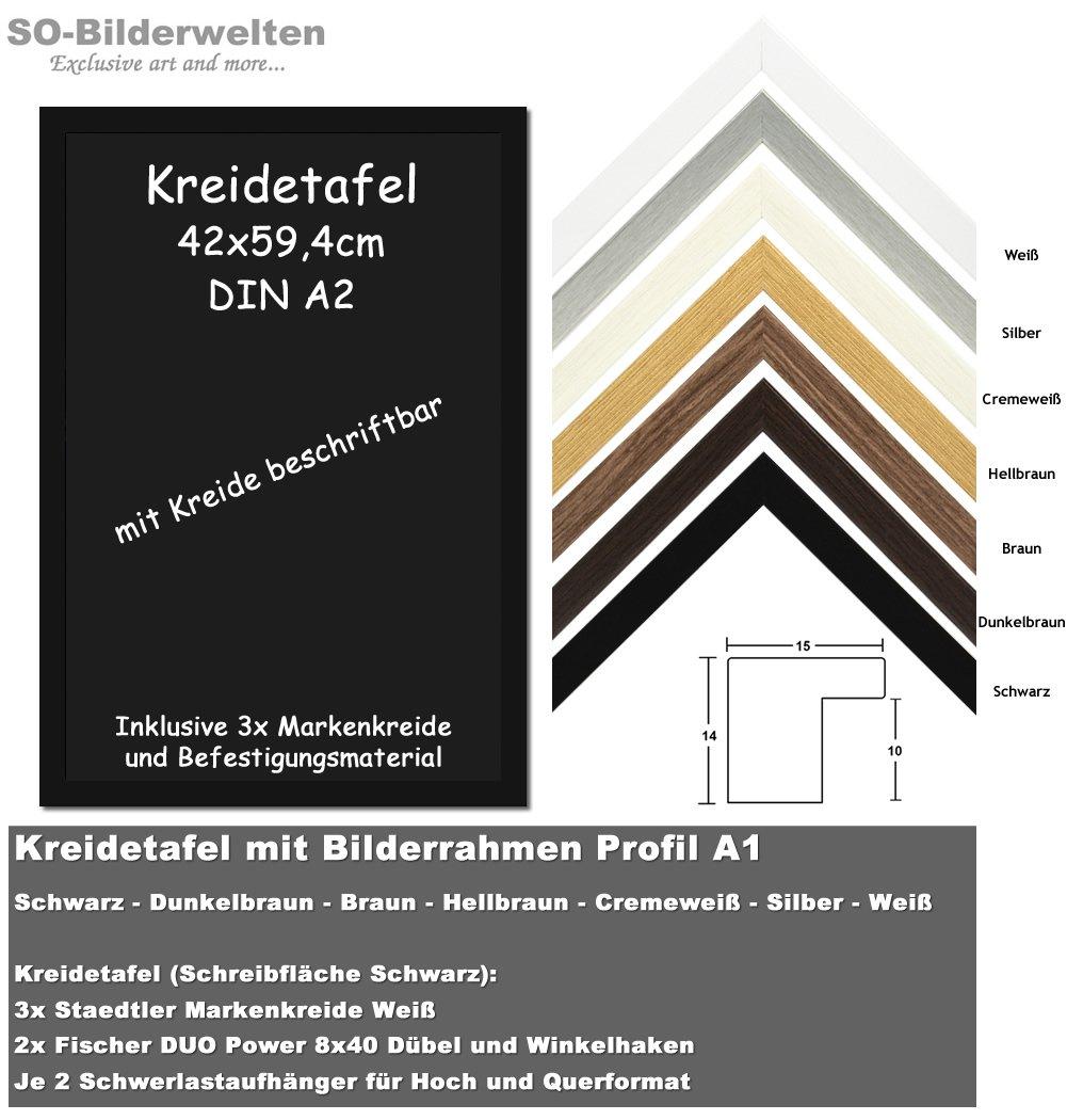 Kreidetafel Schwarz mit Bilderrahmen 50x70cm in Weiß Profil KR/A1WE ...
