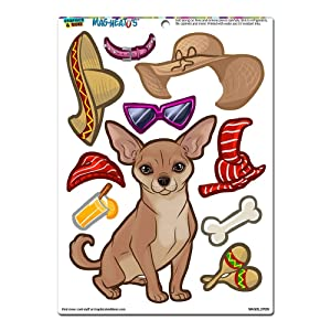 Chihuahua Dress-Up - Dog Pet Funny Novelty Gift Paper Doll Locker Refrigerator Vinyl Magnet Set